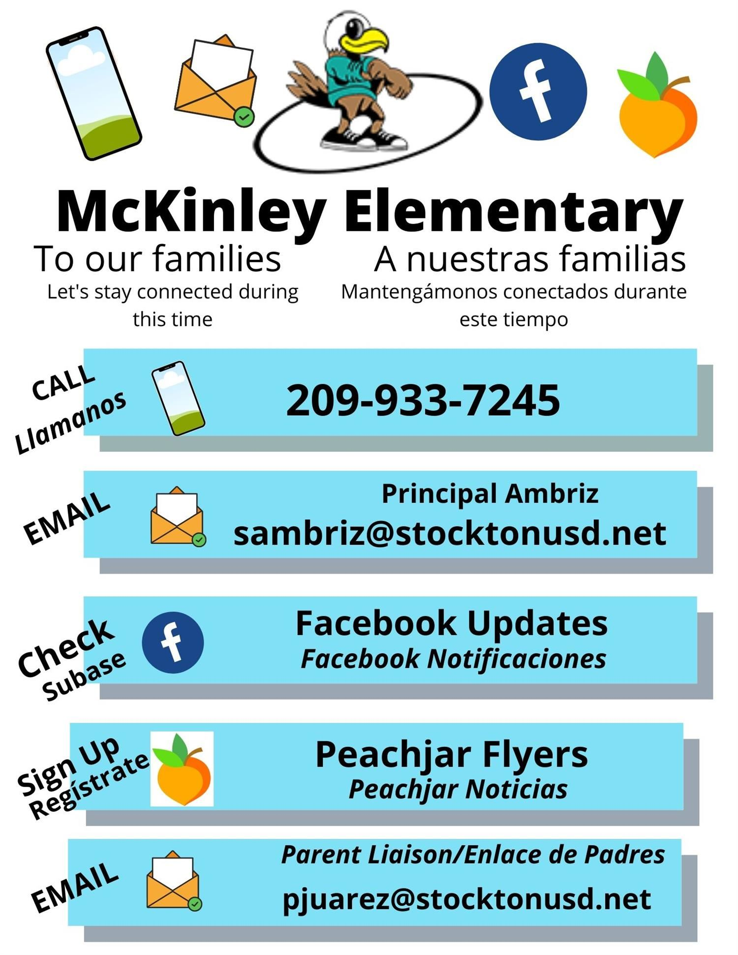 McKinley Flyer with various ways to contact the school