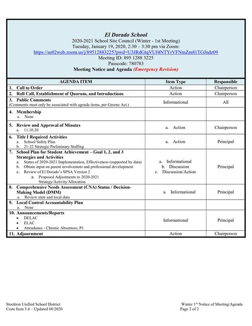 SSC Meeting Notice and Agenda - Emergency Revision