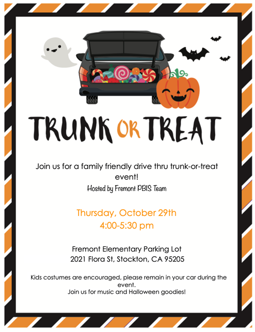 Trunk or Treat Drive Thru Thursday, Oct 29th 4pm-5:30pm