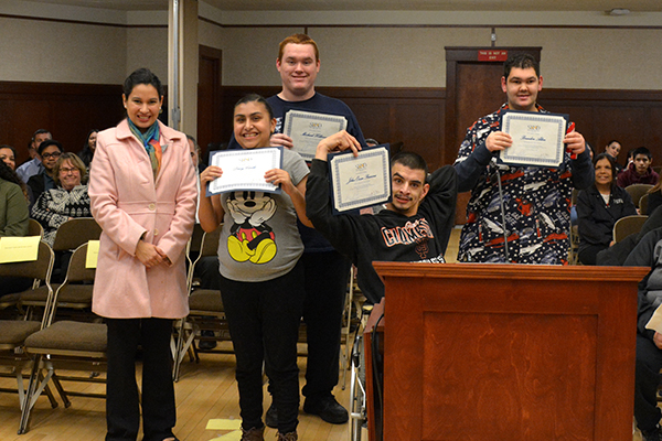 Special education students recognized at a board meeting