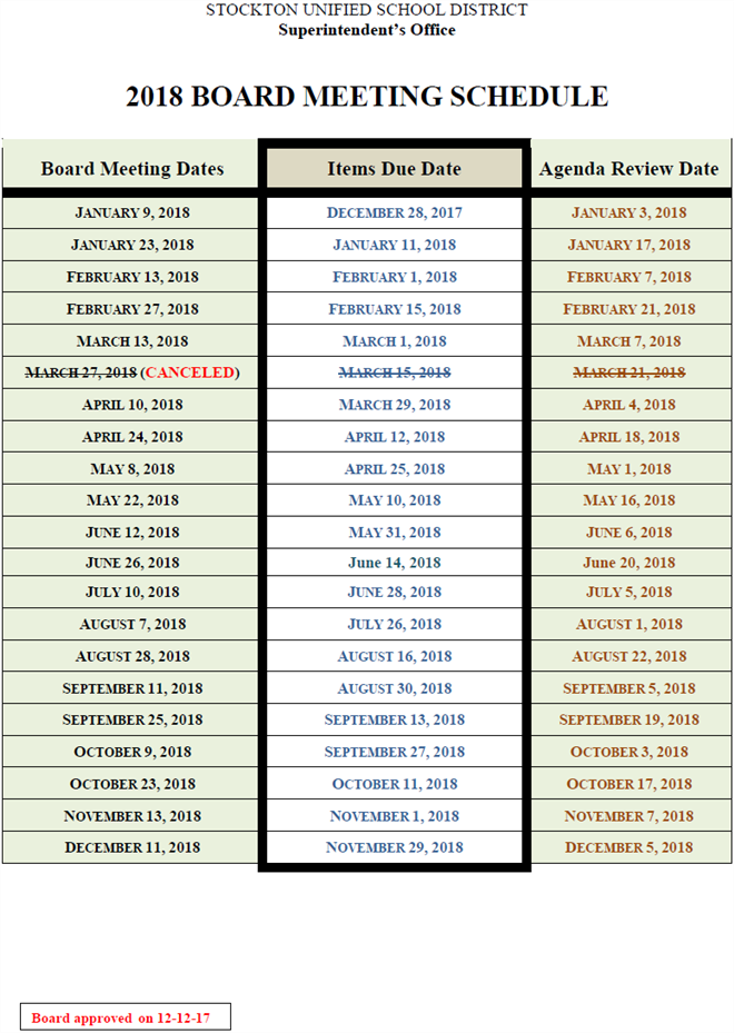 Board of Education / Board Meeting Schedule