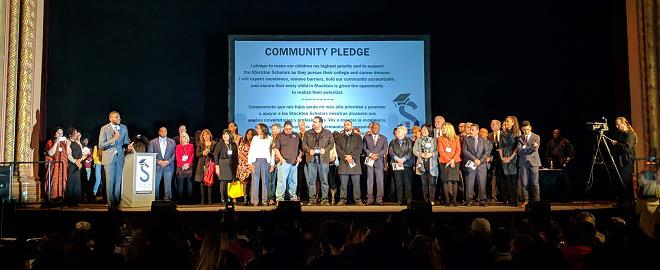 Stockton community leaders pledging to put Stockton students first.