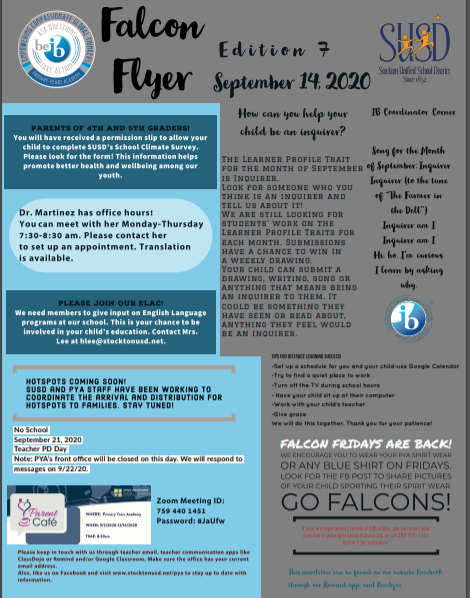 PYA Newsletter 9-14-20 Click here!
