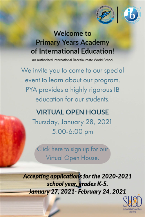 PYA Virtual Open House for New Families Enrolling next year