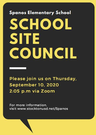 School Site Council Meeting on Sept 10th