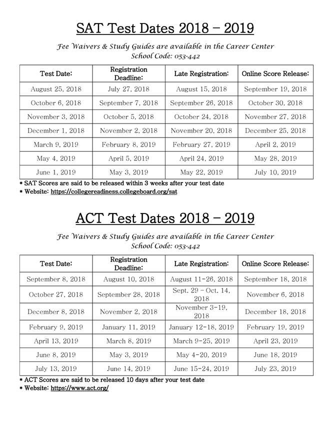 College & Career Center / SAT Dates!!!