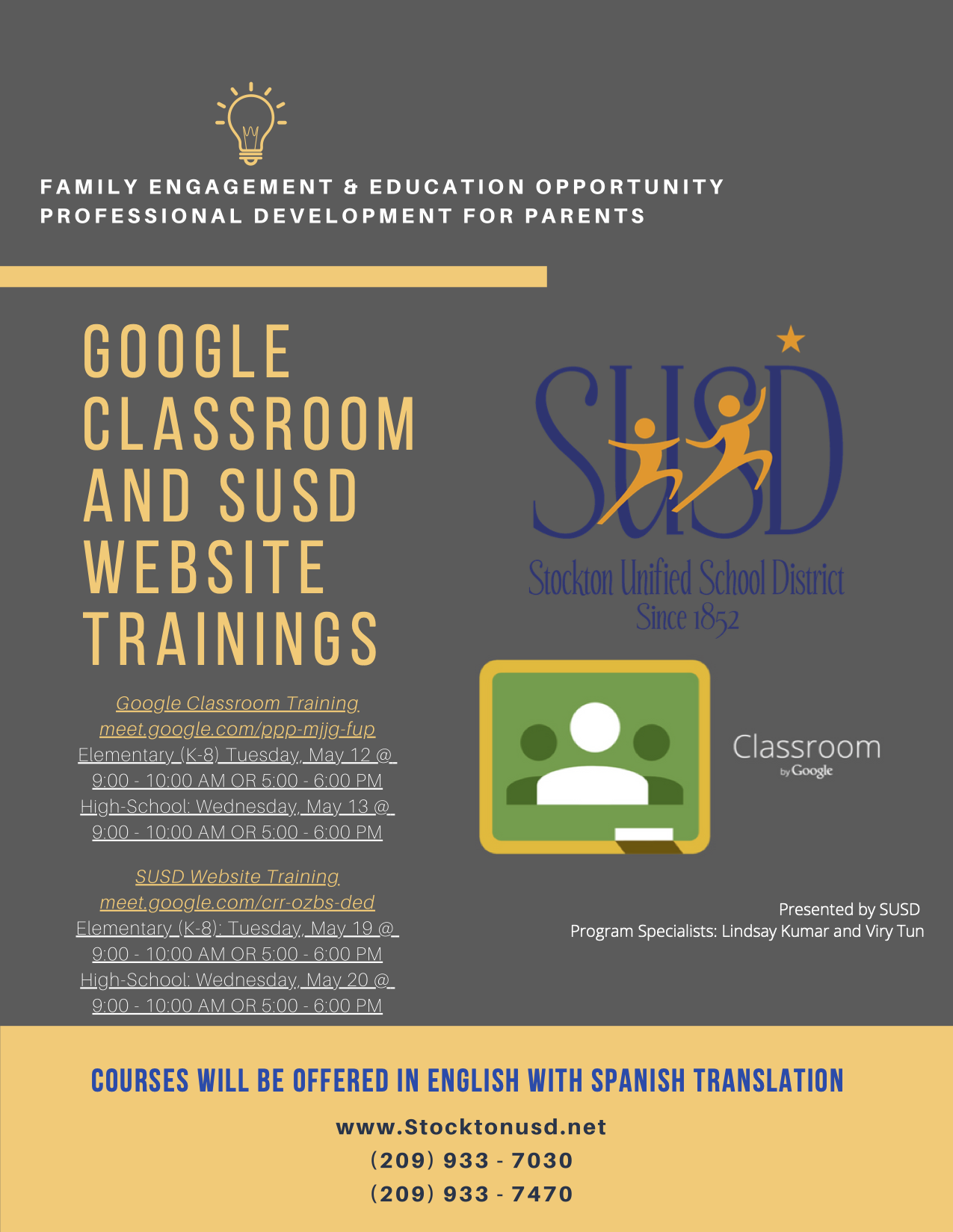 Google Classroom and SUSD Website Trainings