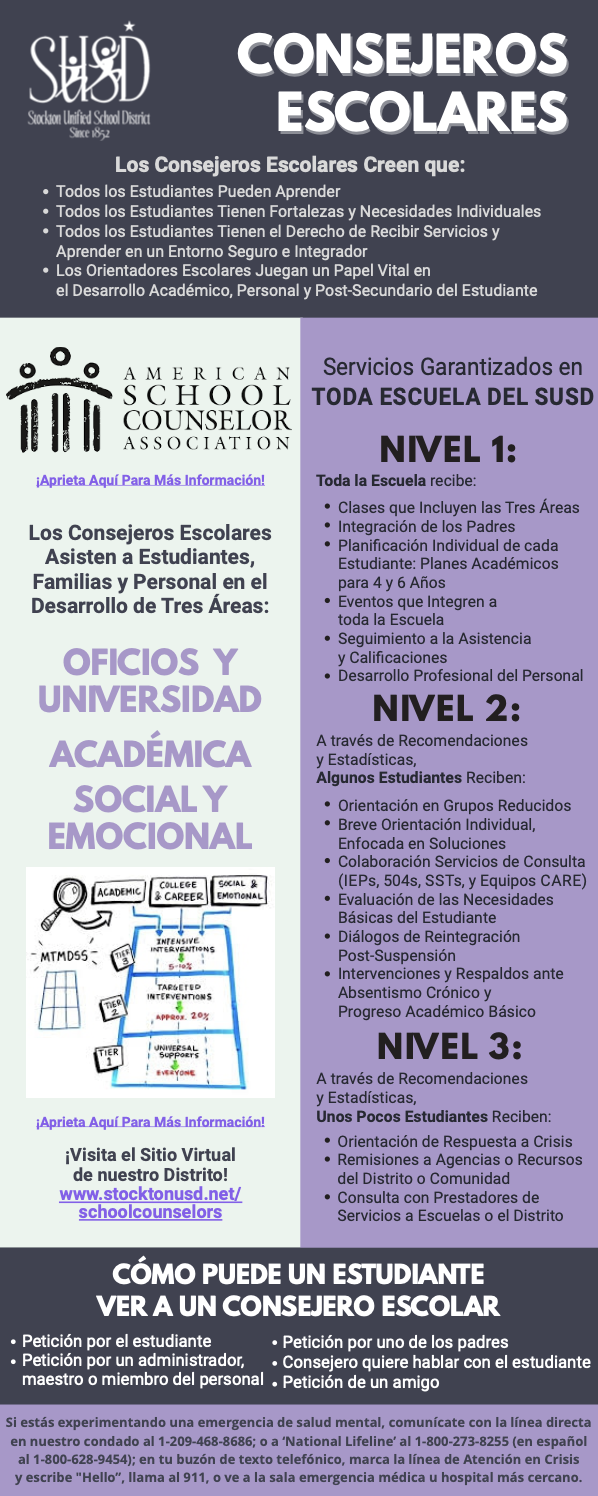 School Counselors Infographic in Spanish