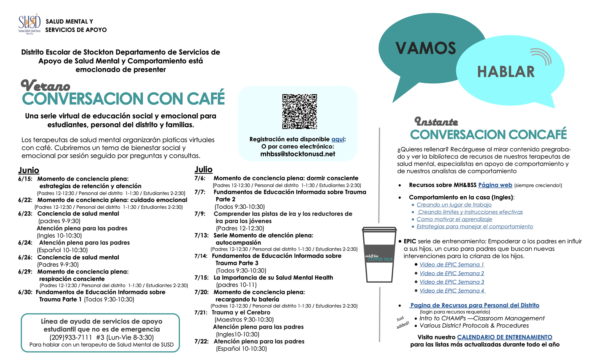 Summer Coffee Talk Flyer in Spanish