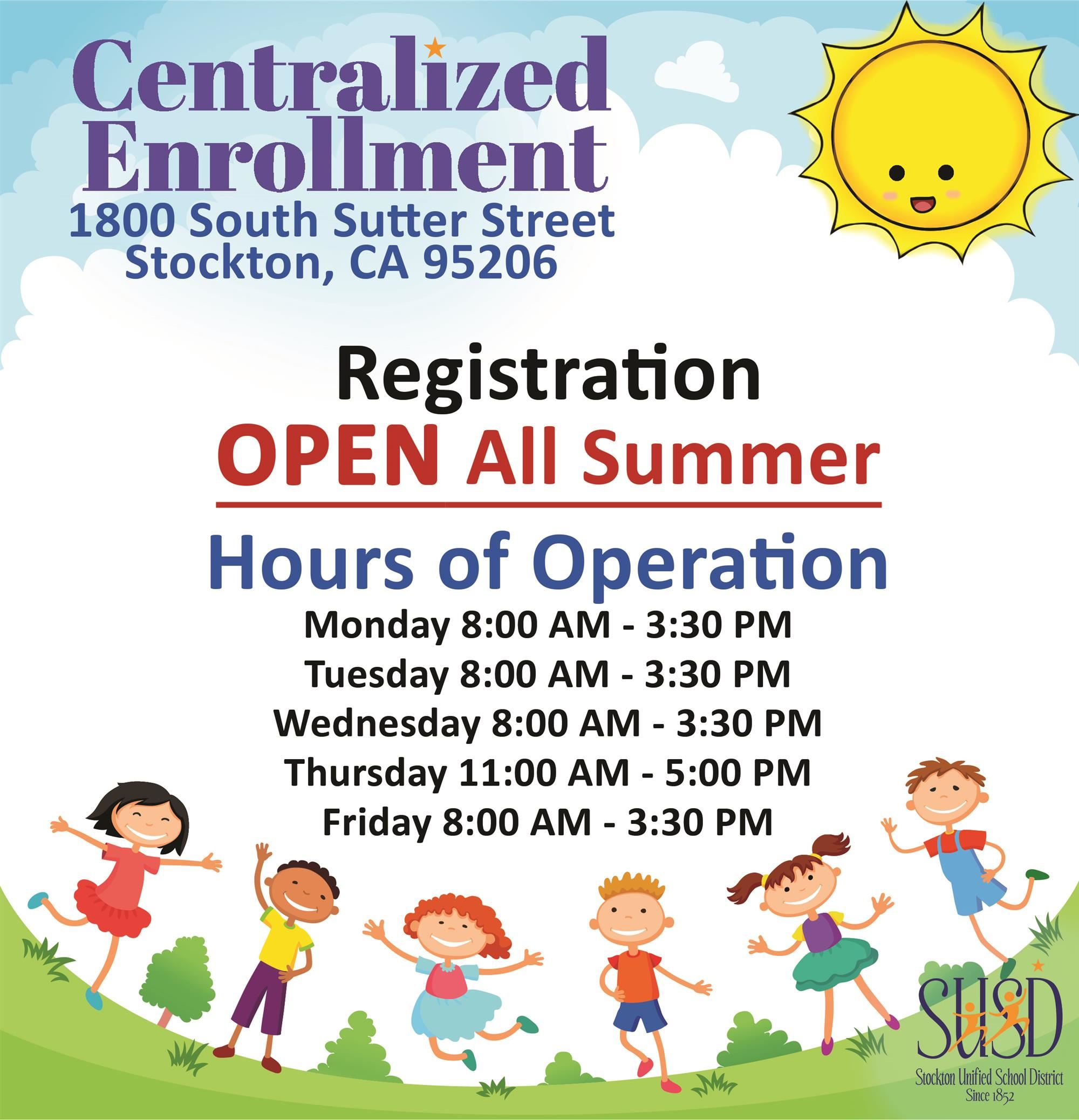 Centralized Enrollment Summer Hours