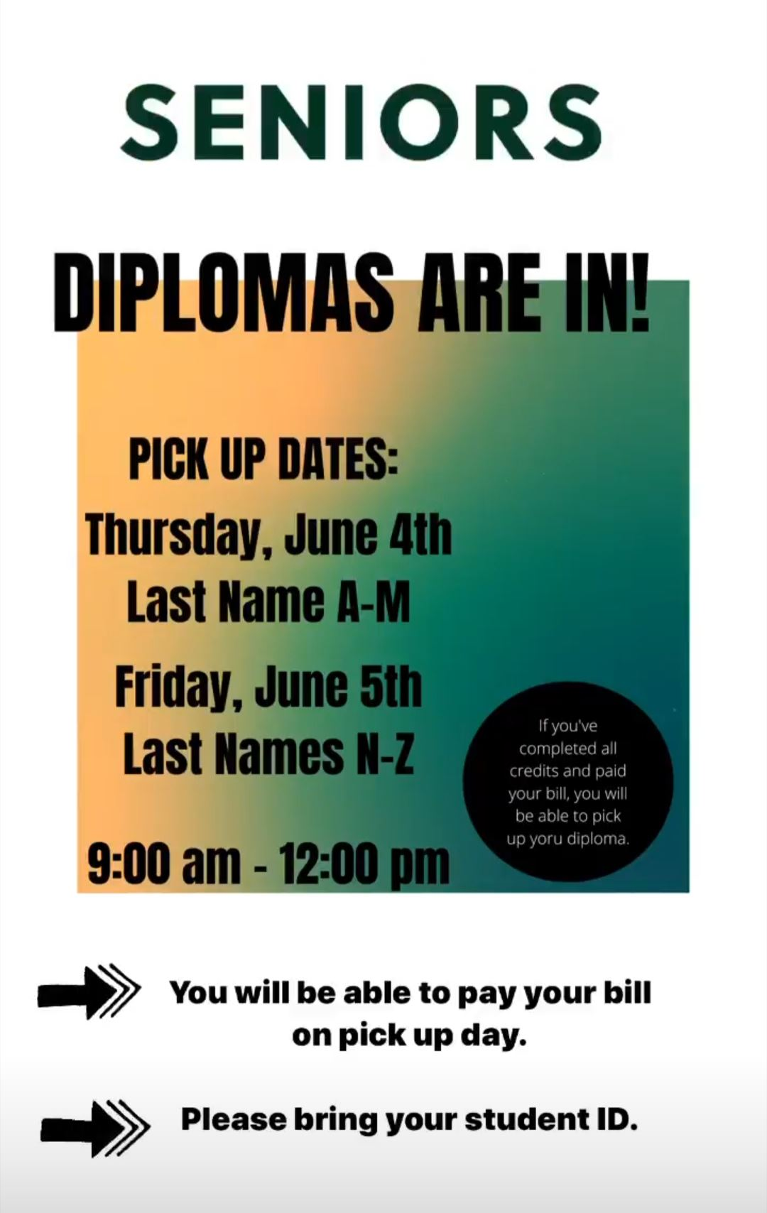 Attention Seniors: Diplomas are in!