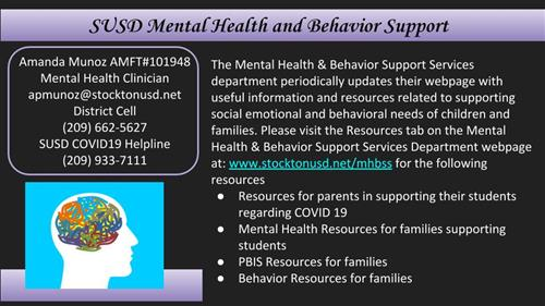 SUSD Mental Health and Behavior Support