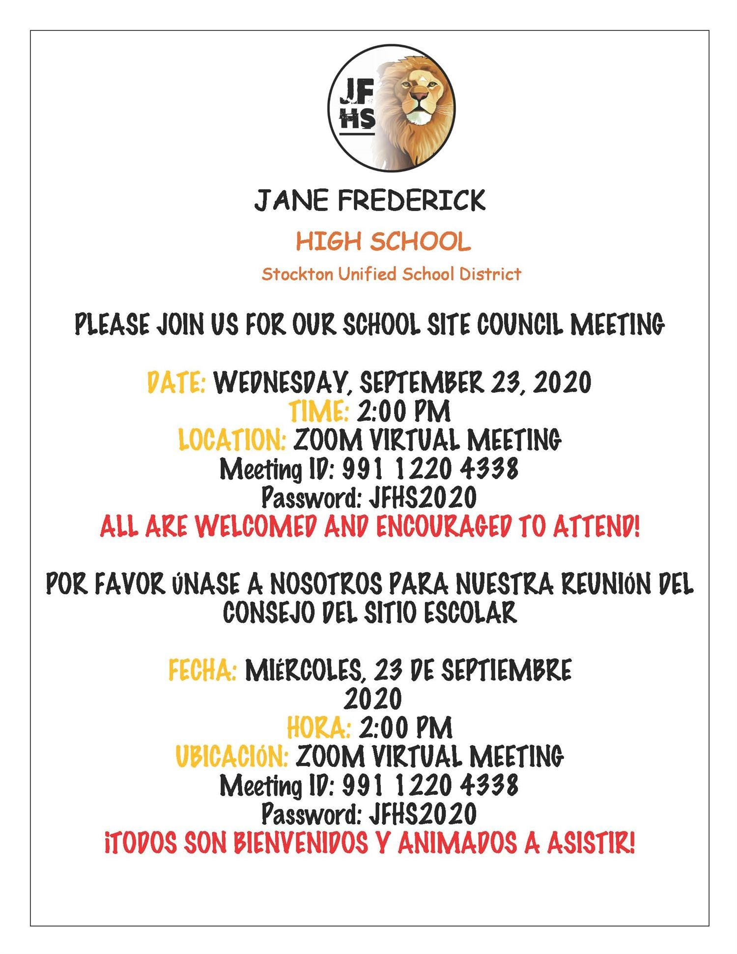 JFHS School Site Council Meeting - 9/23/2020 @ 2:00 pm (on Zoom)