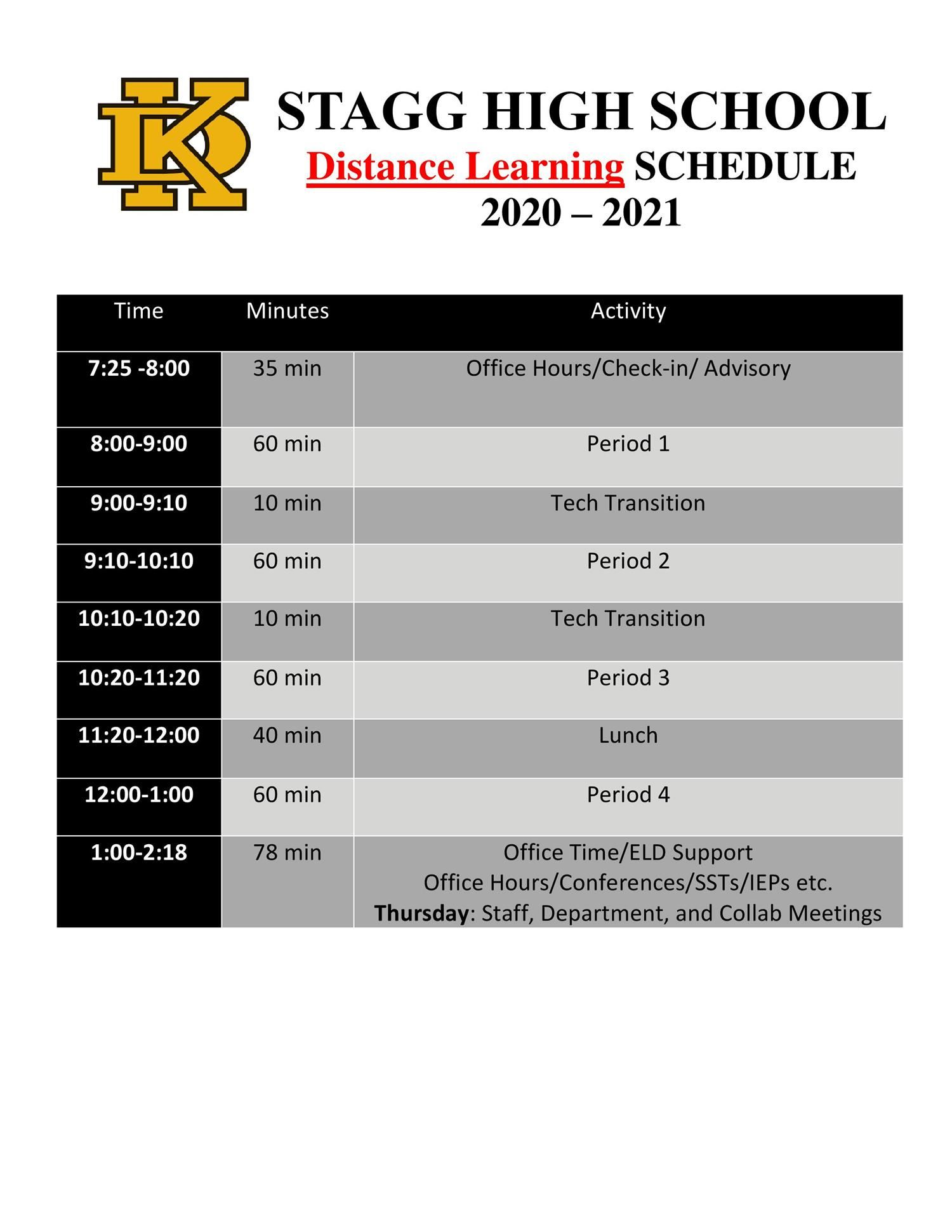 Distance Learning Bell Schedule