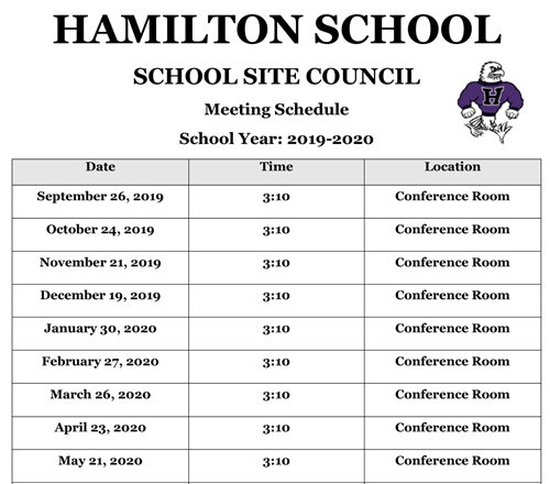 School Site Council Meeting Agenda