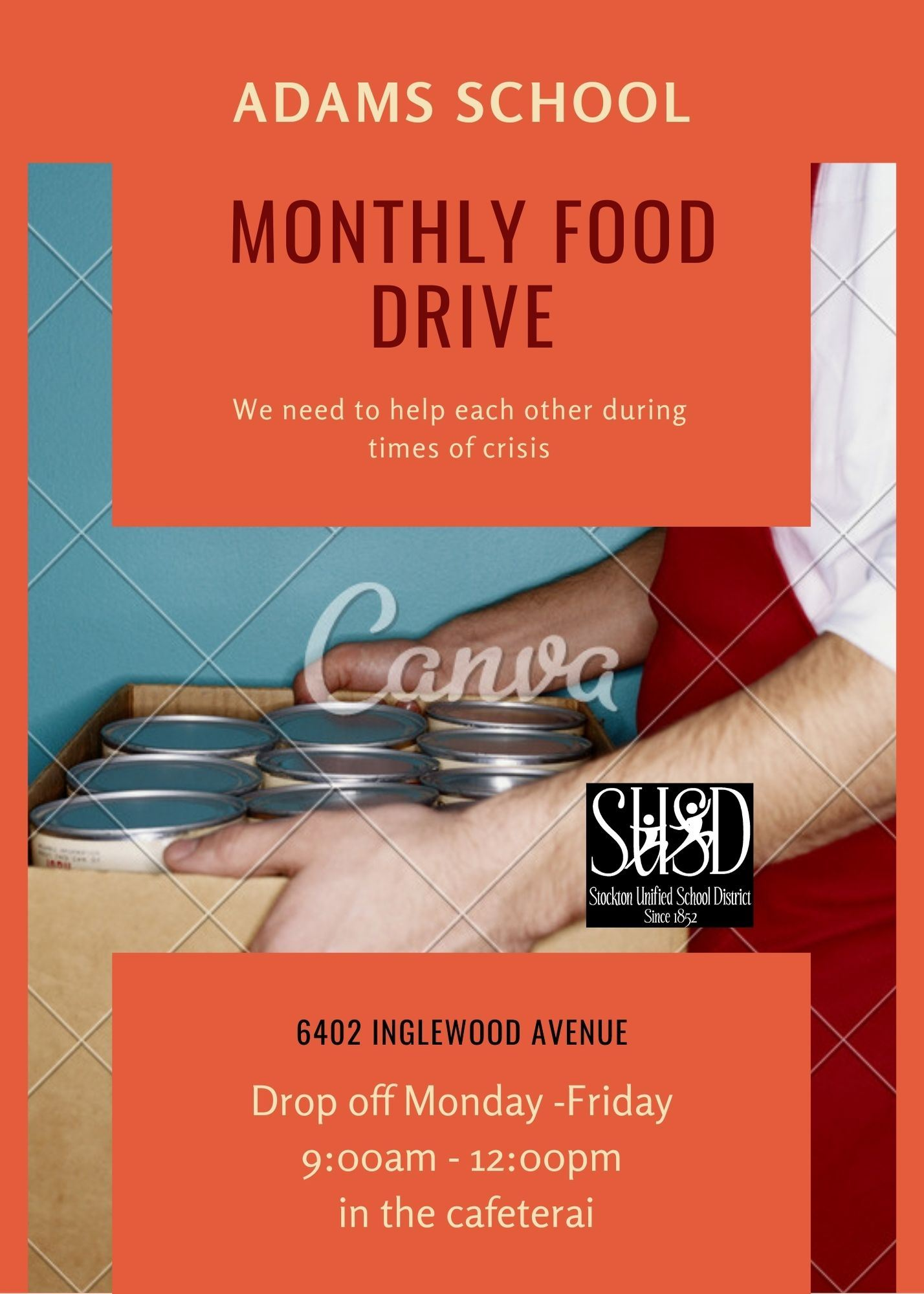 Adams Family Monthly Food Drive